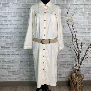 Tahari Arthur S. Levine Belted Stretch Shirtdress